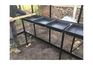 Maatwerk tafel ACD-kas incl zaaikisten / achterzijde R3 Ral 9005